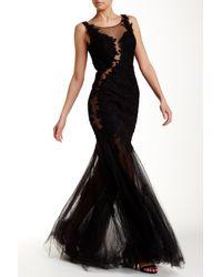 La Femme Black Sheer Mermaid Gown