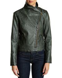 Bagatelle Green Faux Leather Moto Jacket
