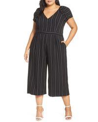 Chelsea28 Black Pinstripe V-neck Jumpsuit (plus Size)