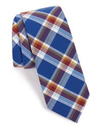 1901 - Blue 'forte' Plaid Cotton Tie for Men - Lyst