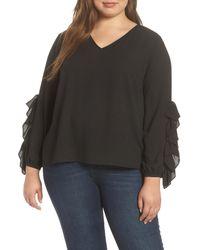 1.STATE Black Ruffle Sleeve Blouse (plus Size)