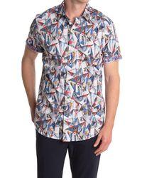 Robert Graham Blue Hollick Short Sleeve Shirt for men