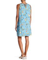 Fifteen Twenty - Blue Floral High Neck Dress - Lyst
