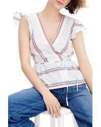 J.Crew Blue Flutter-sleeve Wrap Top In Striped Cotton Voile