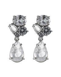 CZ by Kenneth Jay Lane - Metallic Semi Precious Stone Cluster Teardrop Stud Earrings - Lyst