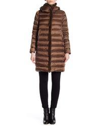 Max Mara - Brown Fez Genuine Dyed Rabbit Fur Trim Coat W/ Hoodie - Lyst