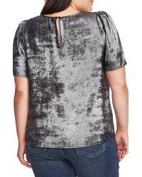 Vince Camuto Multicolor Short Sleeve Padded Shoulder Blouse (plus Size)