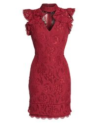 Adelyn Rae - Red Delilah Lace Sheath Dress - Lyst