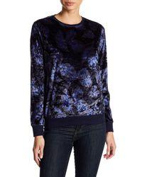 Nanette Nanette Lepore Blue Printed Velvet Pullover