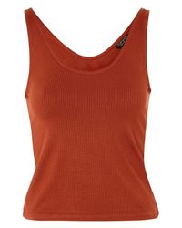 TOPSHOP - Red Ribbed Pajama Camisole - Lyst