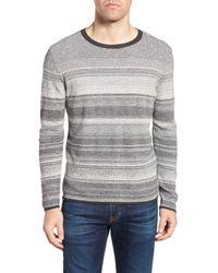 Billy Reid - Gray Contrast Trim Stripe Sweater for Men - Lyst