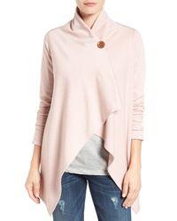 Bobeau Pink One-button Fleece Wrap Cardigan