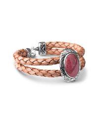 Relios | Pink Sterling Silver Rhodonite Double Row Braided Bracelet | Lyst