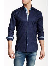 Maceoo - Blue Wall Street Embossed Long Sleeve Slim Fit Shirt for Men - Lyst