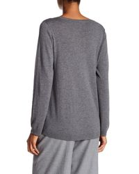 Eileen Fisher - Gray Jewel Neck Oversized Sweater - Lyst