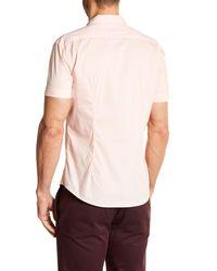 Parke & Ronen - Pink Woven Short Sleeve Slim Fit Shirt for Men - Lyst