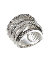 CZ by Kenneth Jay Lane - Metallic Round Cz Pave Multi Band Ring - Lyst