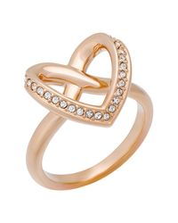 Swarovski - Metallic Cupidon Pave Crystal Accented Heart Shape Ring - Size 7 - Lyst