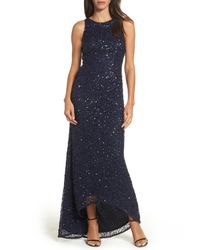 Adrianna Papell - Blue Sequin High/low Gown (regular & Petite) - Lyst