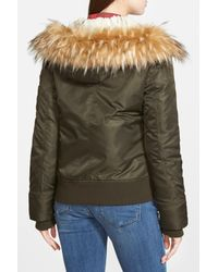 Guess - Green Faux Fur & Faux Shearling Hooded Satin Bomber Jacket - Lyst