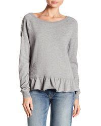 Pam & Gela Gray Ruffle Sweatshirt