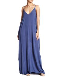 Love Stitch Blue V-neck Sleeveless Gauze Maxi Dress