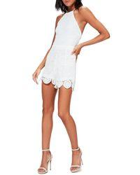 Missguided White Missguidded Crochet Lace Halter Romper