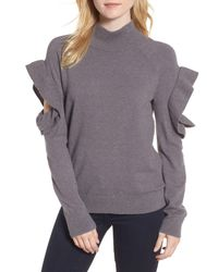 Chelsea28 - Gray Ruffle Sleeve Sweater - Lyst