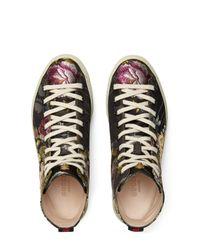 Gucci - Black Floral High Top Sneaker for Men - Lyst