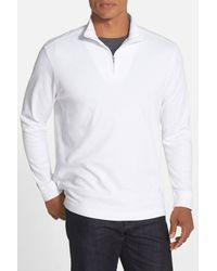 Cutter & Buck White 'belfair' Quarter Zip Pima Cotton Pullover for men