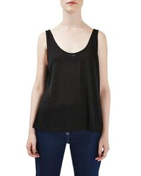 TOPSHOP | Black Scoop Neck Tank | Lyst