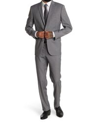 Kenneth Cole Reaction Gray Blue Checked Two Button Notch Lapel Performance Stretch Slim Fit Suit for men