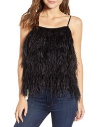 Chelsea28 Black Feather Camisole