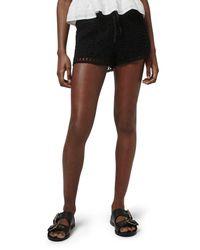 TOPSHOP - Black Floral Crochet Shorts - Lyst