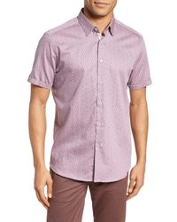 Ted Baker - Pink Narnar Trim Fit Geo Print Camp Shirt for Men - Lyst