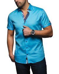 Au Noir - Blue Malibu Jacquard Short Sleeve Slim Fit Shirt for Men - Lyst