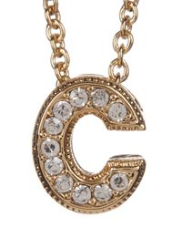 Nadri - Metallic 18k Yellow Gold Plated Pave 'c' Initial Pendant Necklace - Lyst