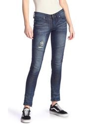 Affliction Blue Skinny Moto Jeans