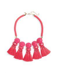 TOPSHOP - Pink Multi Tassel Collar Necklace - Lyst