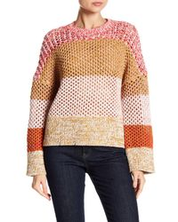 10 Crosby Derek Lam Multicolor Colorblock Long Sleeve Sweater