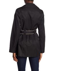 Laundry by Shelli Segal - Black Hooded Belted Raincoat - Lyst