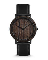 ORIGINAL GRAIN Black Men's Minimalist Leather Strap Watch, 40mm for men