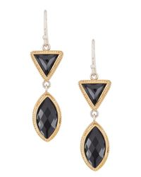 Anna Beck | Metallic 18k Gold Plated Sterling Silver Hematite Double Drop Earrings | Lyst