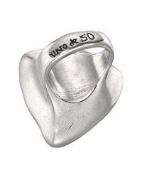 Uno De 50 Micron Silver Star-tremendous Trillion-cut Brown Swarovski Crystal Ring