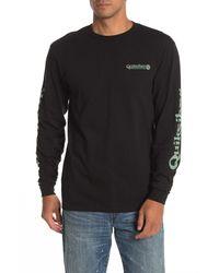 Quiksilver Black Check It Graphic Long Sleeve T-shirt for men