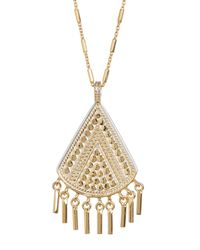 Anna Beck | Metallic 18k Gold Plated Sterling Silver Fringe Drop Pendant Necklace | Lyst