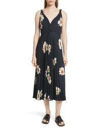 Vince Black Gardenia Floral-print Twist-front Pleated Dress