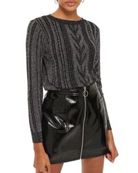 TOPSHOP - Metallic Cable Knit Sweater - Lyst