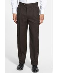 JB Britches Brown Pleated Super 100s Worsted Wool Trousers for men