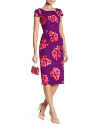 Donna Morgan - Pink Floral Print Crepe Scuba Dress - Lyst